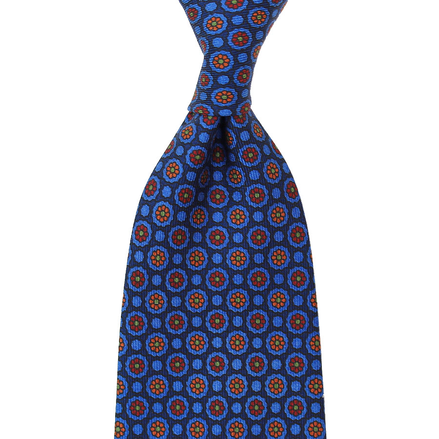 Floral Printed Silk Tie - Blue - Handrolled