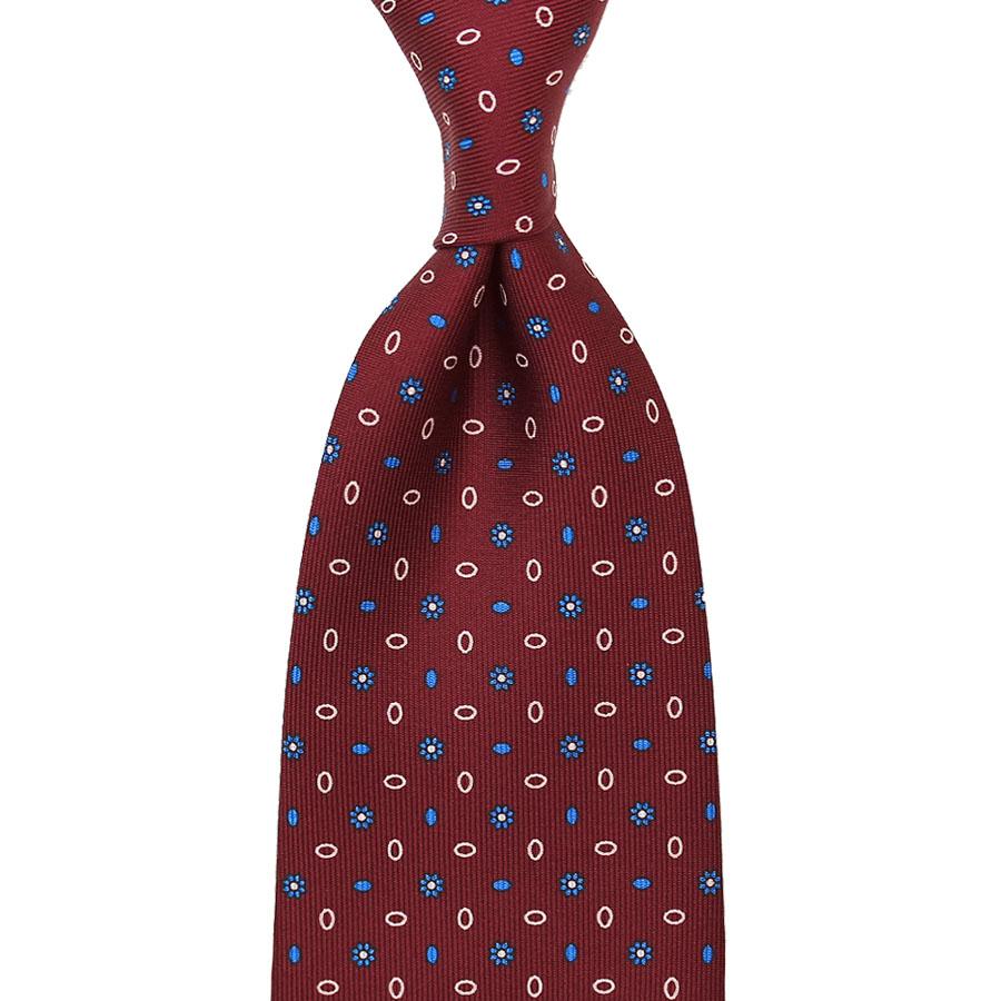 Floral Printed Silk Tie - Burgundy II - Handrolled