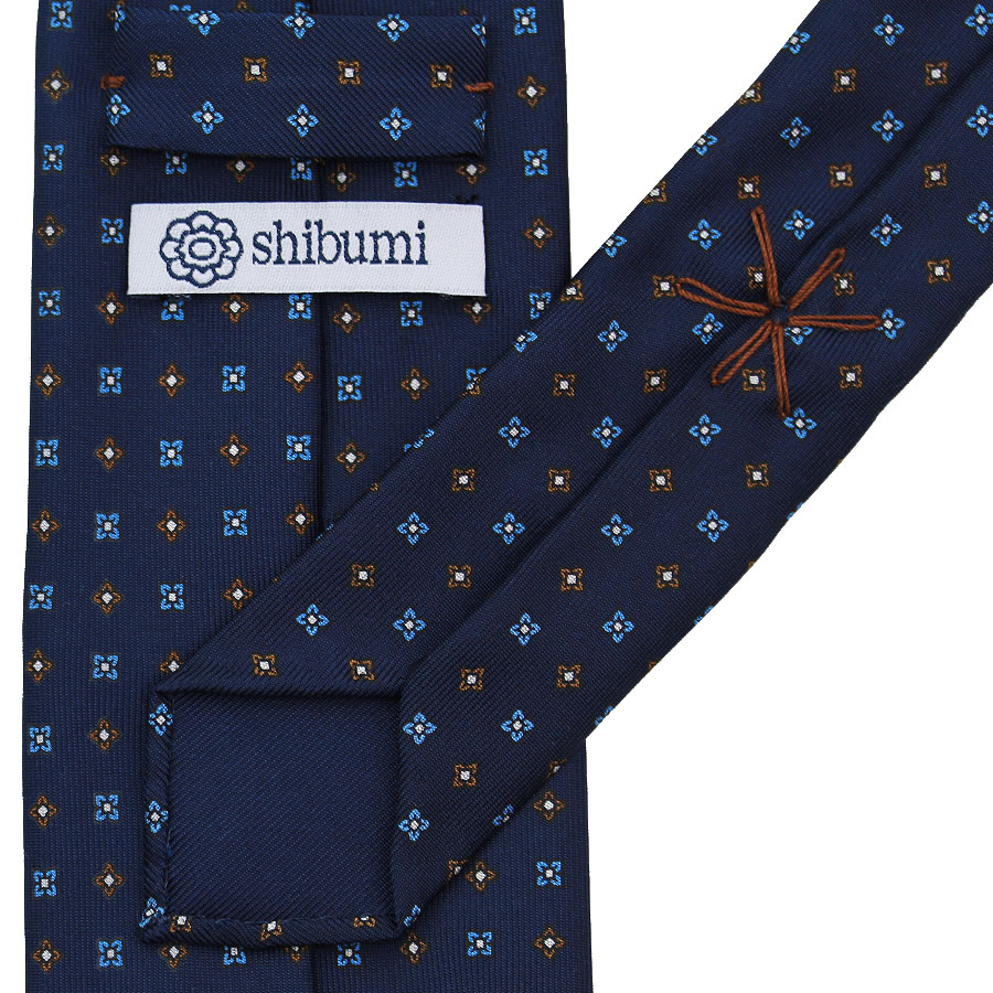 Floral Printed Silk Tie - Navy I - Handrolled