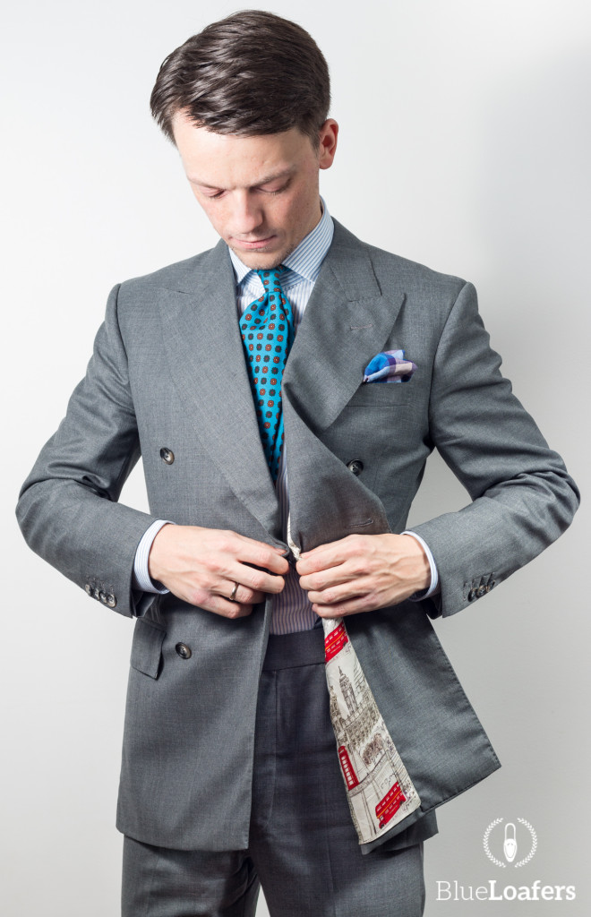 grey double breasted suit
