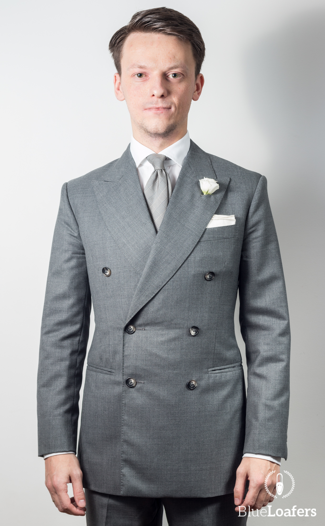 Grey double breasted suit: wedding - Blue loafers