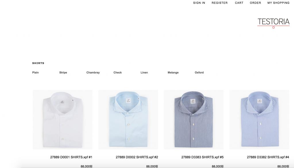 TESTORIA shirt offerings