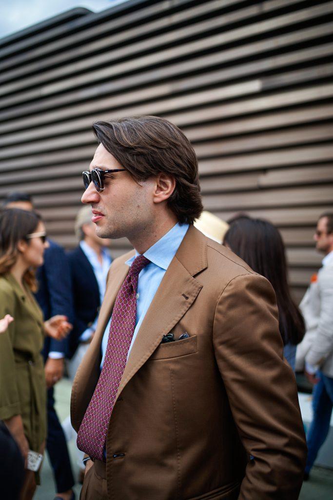 Maciej Zaremba in his beautiful tobacco bespoke suit